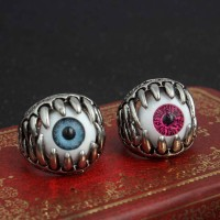 Size 8-11 Men's Cool Stainless Steel Eyeball Dragon Claw Evil Eye Ring Rock Band Jewelry