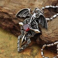 Titanium Necklace Vintage Charm Titanium Steel Devil Wings Ghost Cross Cyrstal Pendant for Men Chain