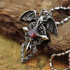Titanium Necklace Vintage Charm Titanium Steel Devil Wings Ghost Cross Cyrstal Pendant for Men Chain