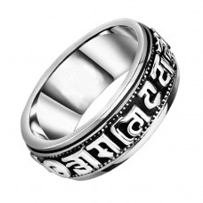 Buddhist Ring Silver Rotating Blessing Ring Power Lucky Om Mani Padme Hum Ring Sanskrit Mantra Amulet