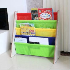 Kids Book Shelf Sling Storage Rack Organizer Bookcase Display Holder Natural