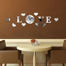 LOVE Modern DIY Home Decor Large Mirror Acrylic 3D Wall Clock Watch Decal