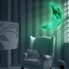 Fashion Glow in the Dark Green Crescent Moon Wall Decals Luminous