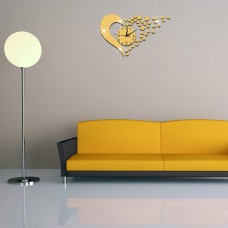 DIY Home Modern 3D Mirror Wall Clock Love Sticker Home Living Room Decor
