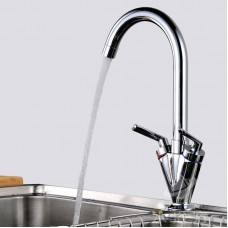 Brass Double Handles Kitchen Sink Tap Lifting Kitchen Mixer Round Swivel Kitchen Faucets