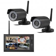 "2.4GHz 7"" TFT Digital LCD Display Monitor 4CH DVR Recoder 2 WiFi Wireless Cameras Receiver"