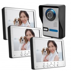 "HD 7"" TFT Color Video Door Phone Intercom Doorbell Home Security Camera 3 Monitor Night Vision System"