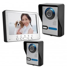 "HD 7"" TFT Color Video Door Phone Intercom Doorbell Home Security 2 Camera Monitor Night Vision System"