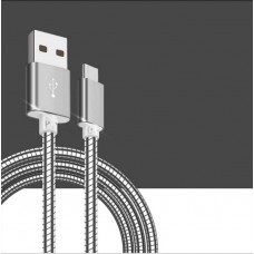Superior Metal Spring USB Lightning Cable Steel Data Syncing for iPhone Android Phone
