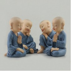 4PCS Kungfu Little Monk Figurines Car Babys Decoration Buddha Shaolin Temple Monks Toys Resin