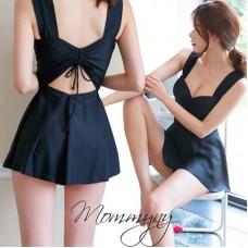 Korean Fashion Summer Women One Piece Swimsuit Hotspring Bathing Suit Beach Swimming Dress Black