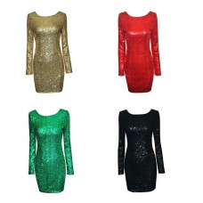 Sequins Gitter One Piece Dress Lady Sexy Backless Bodycon Scoop Neck