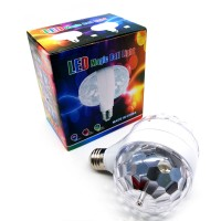 Disco Stage RGB E27 LED Lights Crystal Ball Bulb 2-Head Rotating Party Xmas Lamp