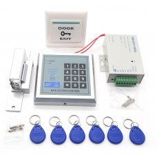 Access Control with RFID Reader + Power Adapter + Lock + Switch + ID Card Set