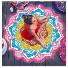 Mandala Bohemian Round Beach Hippie Tapestry Throw Yoga Mat Towel Indian Blanket Pink