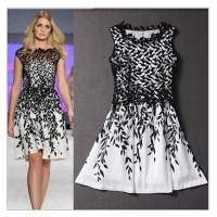 Women Elegant Round Neck Sleeveless Hollow Floral Lace summer Short Dress