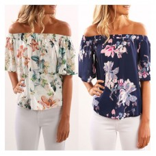 New fashion Summer Style Irregular Horn Sleeves Floral Printed Beach Streetwear Shirt