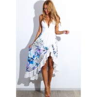 New Arrival Summer Fashion V Neck Sleeveless Floral Print Maxi Women Dresses