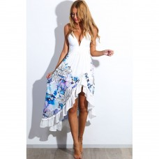 New Arrival Summer Fashion V Neck Sleeveless Floral Print Maxi Women Dresses