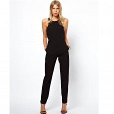 Hot Selling Leotards Catsuit Round Collar Sleeveless Jumpsuit Women Bodysuit
