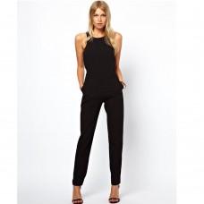 Hot Selling Leotards Catsuit Round Collar Sleeveless Jumpsuit Women Bodysuit