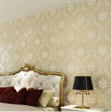 European Embossed 3D Flocking Stereoscopic Damascus Non-woven Living Room Wallpaper