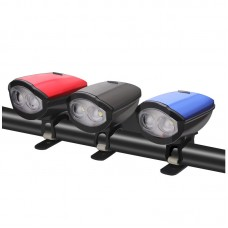 LED Bike Headlight USB Rechargeable Bicycle Cycling Front Lamp Horn Kit