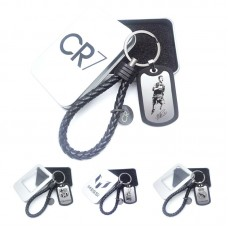 Braid Leather Chain Handmade Rope Key Buckle Pendant World Cup Football Star