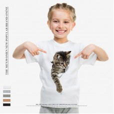Summer Popular Children Loose Cat Print Broken T-shirt O-neck Round Collar Short Sleeves Cotton
