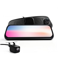 HD 8.5 Full Touch IPS Screen Car Mirror DVR Monitor with Dual DVR Camera Fornt Rear Double Recorder with Gesture Operation