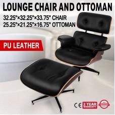 Lounge Chair Grain Italian Leather Ottoman Genuine Black