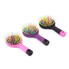 High Quality 1pc Rainbow Volume Anti-static Magic Detangler Hair Curl Straight Massage Comb Brush Styling Tools With Mirror