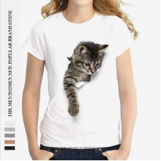 Summer Popular Female Loose Cat Print Broken T-shirt O-neck Round Collar Short Sleeves Cotton