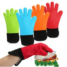 BBQ Grilling Gloves Heat Resistant Kitchen Silicone Oven Mitts Extra Long