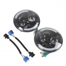 7 Inch 80W Round LED Headlight  Halo Angle Eye For Jeep Wrangler