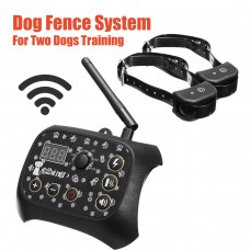 TF68 Waterproof Rechargeable Wireless Elecric Dog Pet Fence Training System 2 Collars