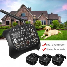TF68 Waterproof Rechargeable Wireless Elecric Dog Pet Fence Training System 3 Collars