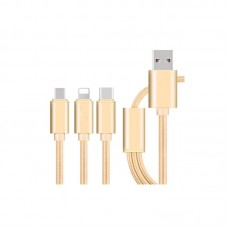 3 in 1 Phone Charging Cable Nylon Micro USB Fast Charger Data Line For Ios Android Type C