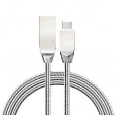 Zinc Alloy Metal Spring Micro Type-C USB Data Cable 2.4A Fast Charging for iPhone