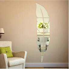Feather Shaped Mirror Wall Stickers Acrylic Bathroom Living Room Mirror Decoration