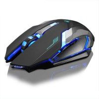 Wireless Gaming Mouse Mute USB Charging Colorful LED Rainbow Backlight Adjustable 1600DPI Game Mouse