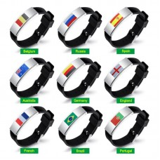 Fans Articles Country Flag Unisex Silicone Bracelet Rubber Wristband for 2018 Russian Word Cup
