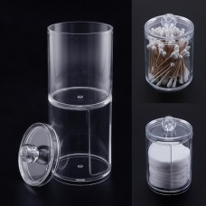 Clear Plastic Cotton Swab Holder Dual Layer Q-Tip Storage Nail Art Remover Paper Holder