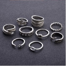 9pcs/set Boho Vitage Hollow Kunkle Rings Midi Ring Set For Women Flower Leaves Feather Triangle Punk