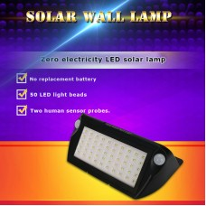 50 LED Solar Power PIR Motion Sensor Wall Light Outdoor Garden Waterproof Lamp 2W