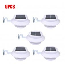 5pcs Solar Powered Light 3 LED Gutter Light Outdoor/Garden/Yard/Wall/Fence/Pathway Lamp