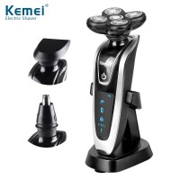 Kemei KM5886 3 in1 Electric Shaver 5D Floating Razor with Nose Hair Trimmer 2 Floating Heads Rechargeable Shaving tool