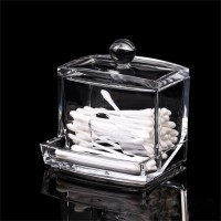 Clear Acrylic Cotton Swab Q-tip Storage Bud Holder Box Cosmetic Makeup Case