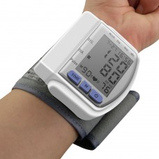 Wrist Blood Pressure Monitor Digital LCD Heart Beat Rate Pulse Meter Measure Portable Case
