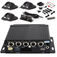 4ch Vehicle Car Mobile DVR Camera Video Recorder Security SD +4 CCD Camera Cable Remote
